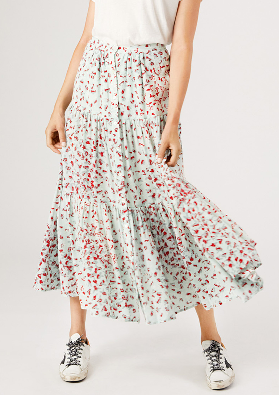 WIDE SKIRT WITH BUTTON PLACKET-2
