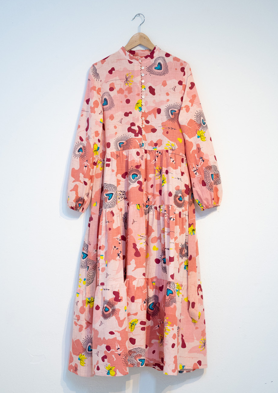 WIDE COTTON DRESS - ROSE-1