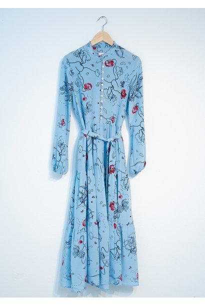 WIDE SILK DRESS - BLUE