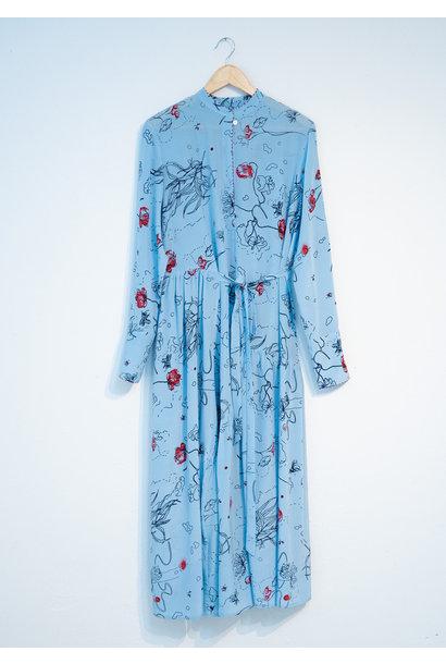 FAVORITE SILK DRESS LONG - BLUE