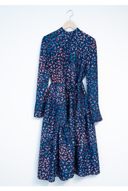 FAVORITE SILK DRESS LONG - MARINE