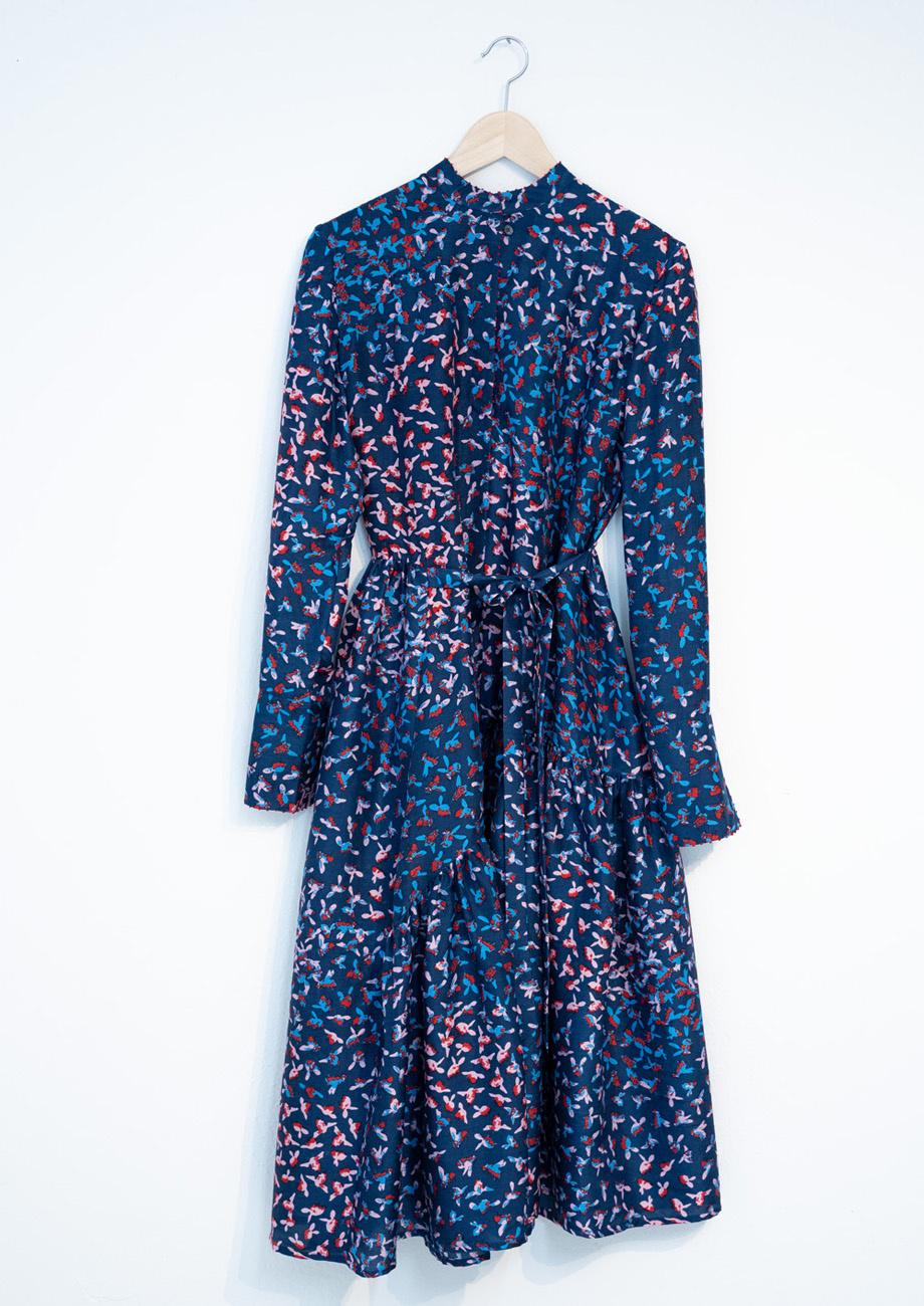 FAVORITE SILK DRESS LONG - MARINE-1