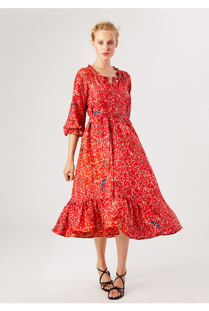 COCKTAIL SILK DRESS - RED