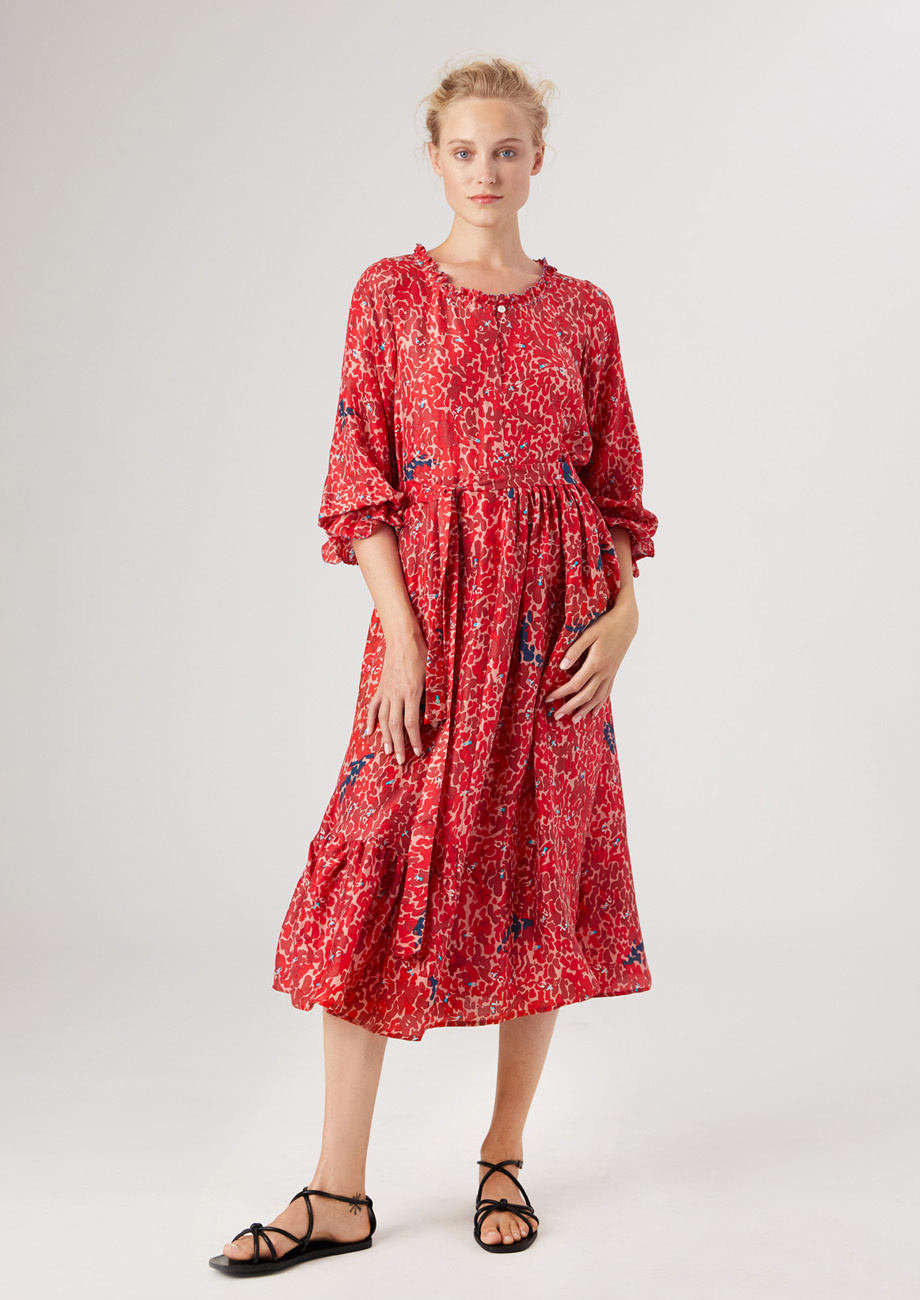 COCKTAIL SILK DRESS - RED-2