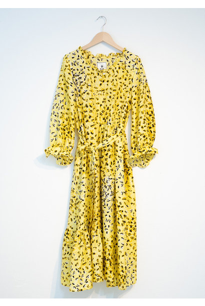 COCKTAIL SILK DRESS - YELLOW