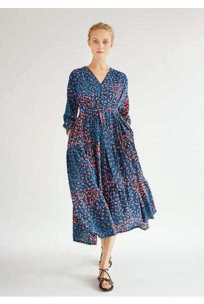 WIDE VOLANT SILK DRESS - MARINE
