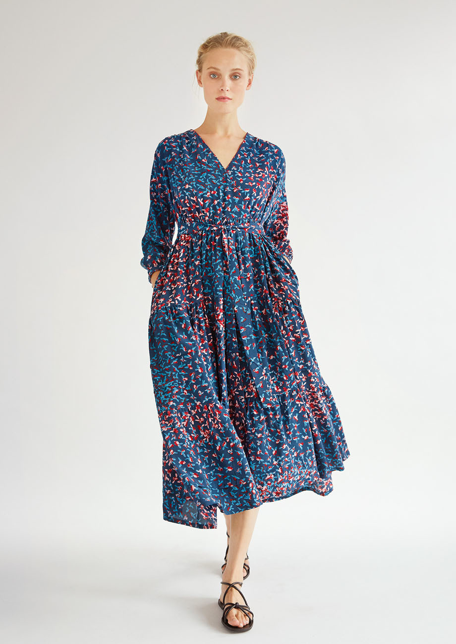 WIDE VOLANT SILK DRESS - MARINE-1