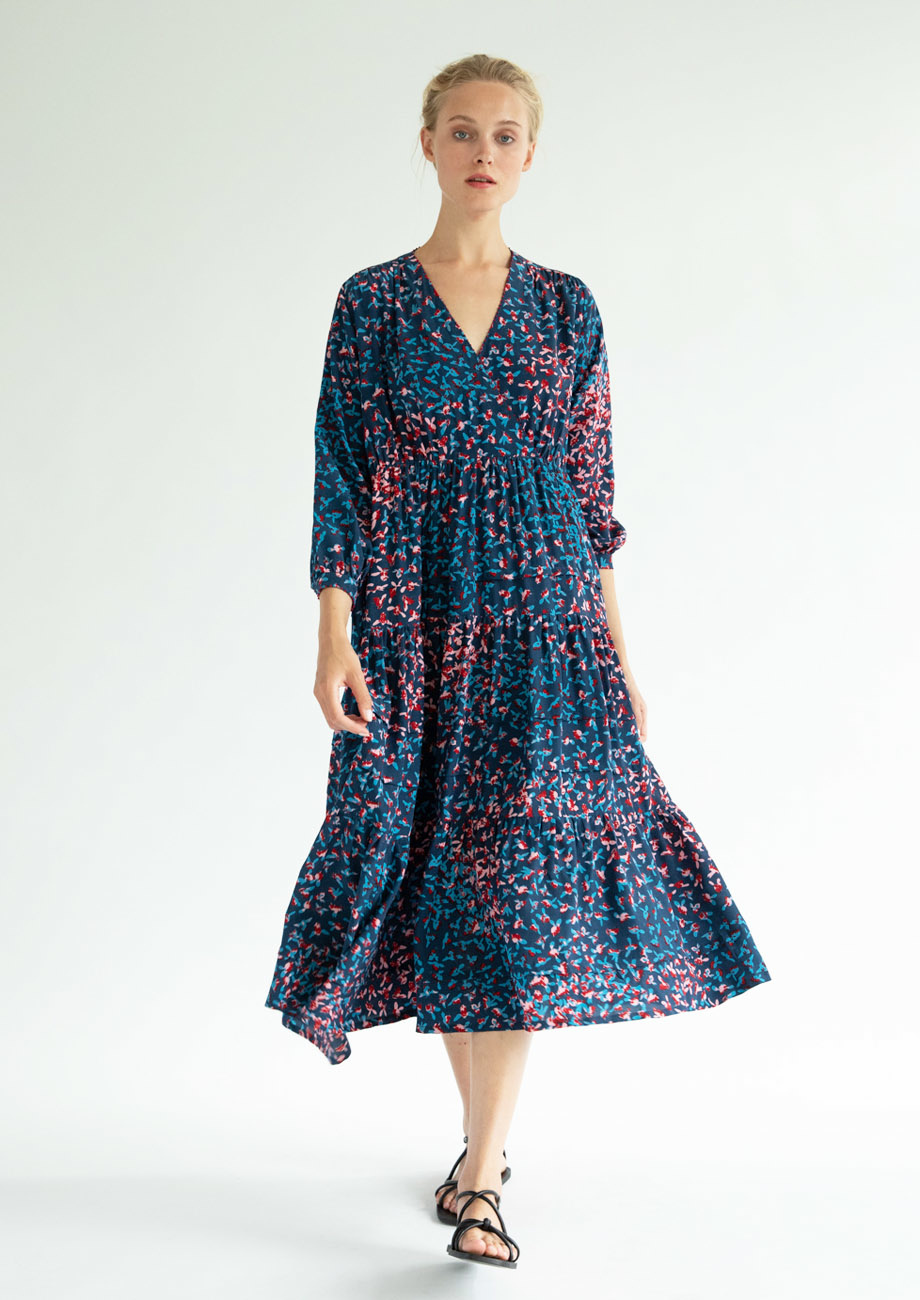 WIDE VOLANT SILK DRESS - MARINE-2