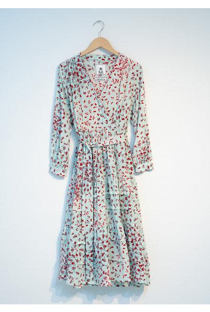 WIDE VOLANT SILK DRESS - SKY