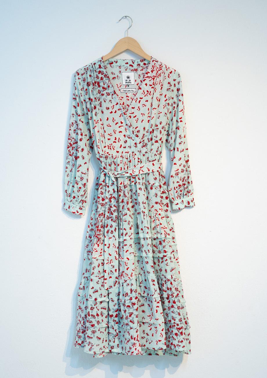 WIDE VOLANT SILK DRESS - SKY-1