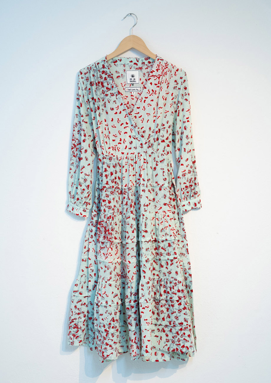 WIDE VOLANT SILK DRESS - SKY-2