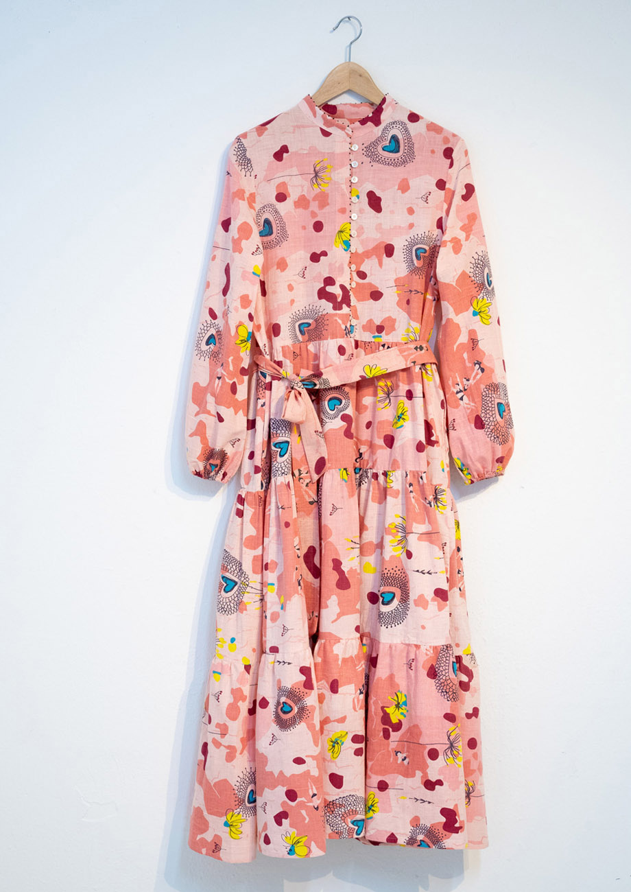WIDE COTTON DRESS - ROSE-2