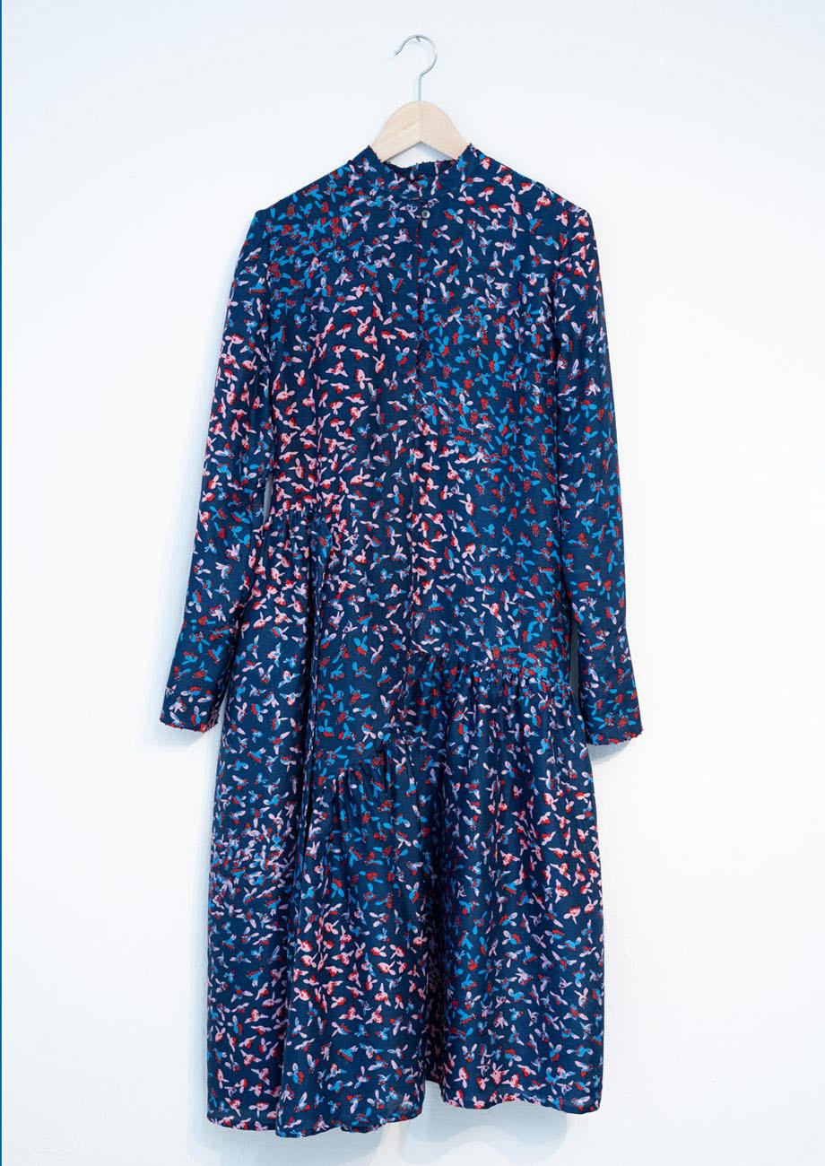 FAVORITE SILK DRESS LONG - MARINE-2