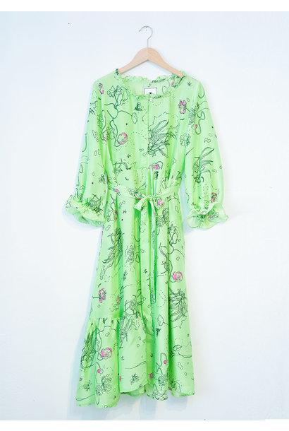 COCKTAIL SILK DRESS - GREEN