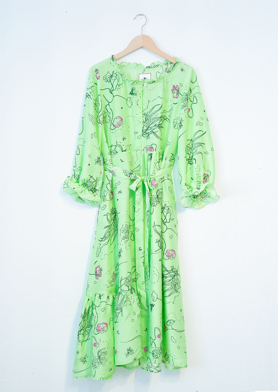 COCKTAIL SILK DRESS - GREEN-1