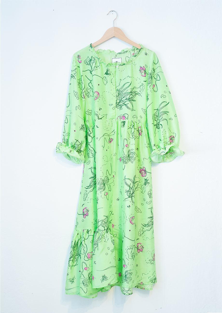 COCKTAIL SILK DRESS - GREEN-2