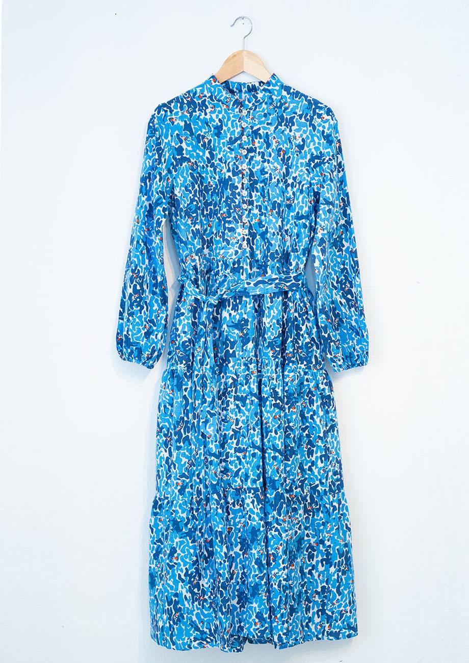 WIDE COTTON DRESS - BLUE-2