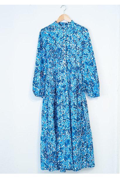 WIDE COTTON DRESS - BLUE