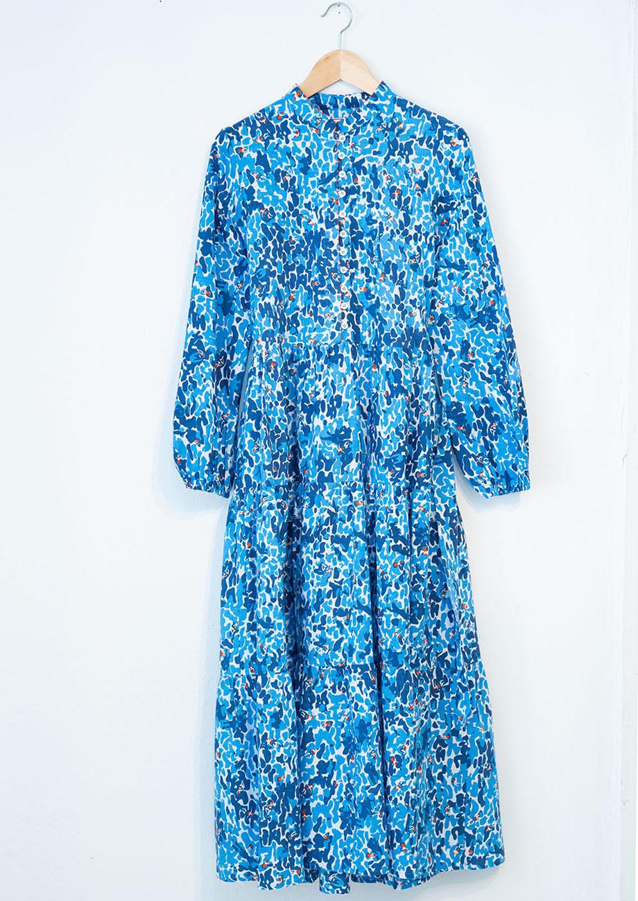 WIDE COTTON DRESS - BLUE-1
