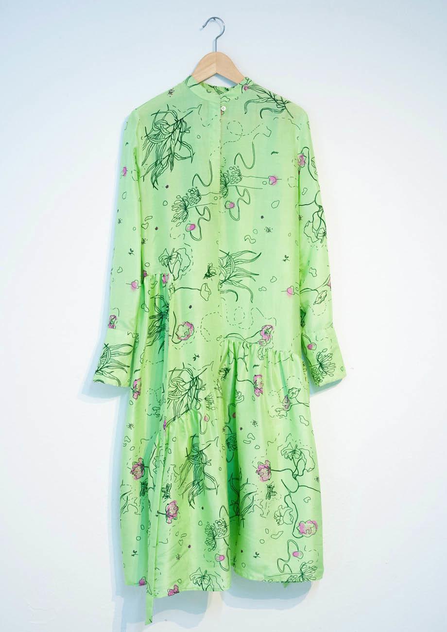 FAVORITE SILK DRESS LONG - GREEN-1