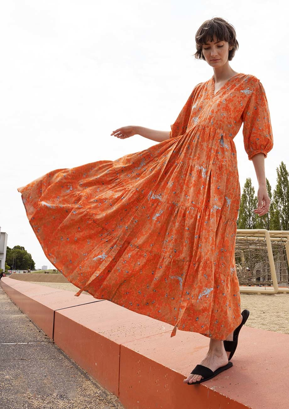 WEEKEND DRESS LONG COTTON - ORANGE-4