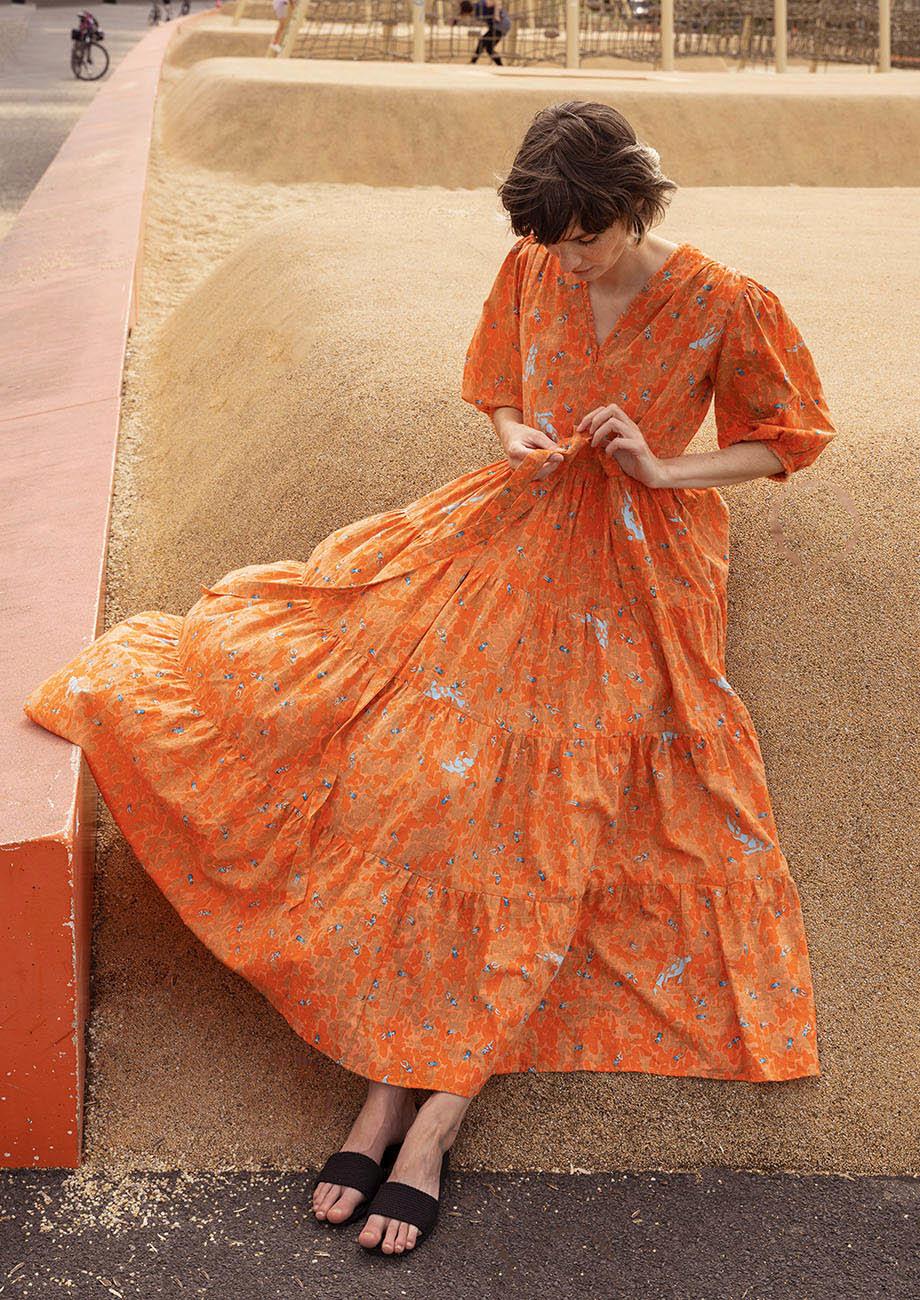 WEEKEND DRESS LONG COTTON - ORANGE-2