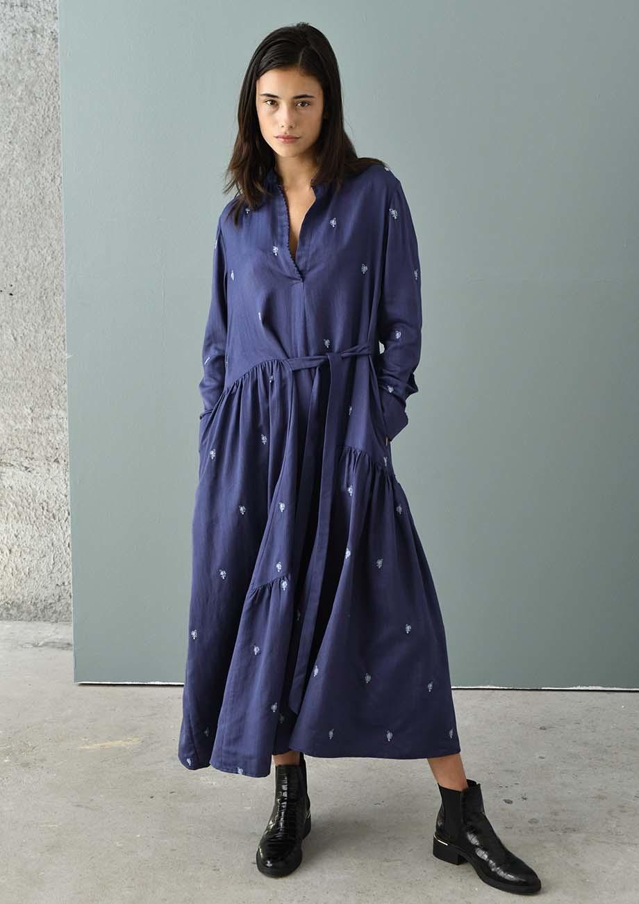 FAVORITE SILK DRESS LONG - EMBROIDERED BLUE-1