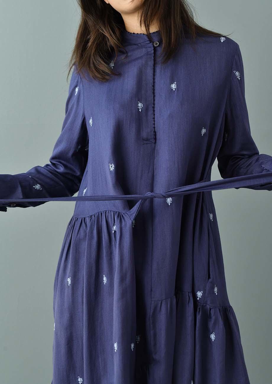FAVORITE SILK DRESS LONG - EMBROIDERED BLUE-3