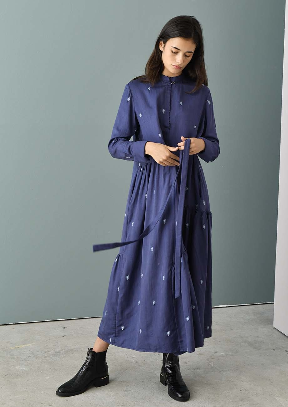 FAVORITE SILK DRESS LONG - EMBROIDERED BLUE-2