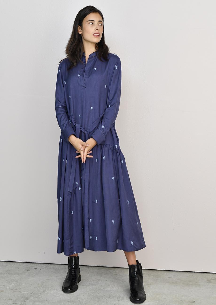 FAVORITE SILK DRESS LONG - EMBROIDERED BLUE-4