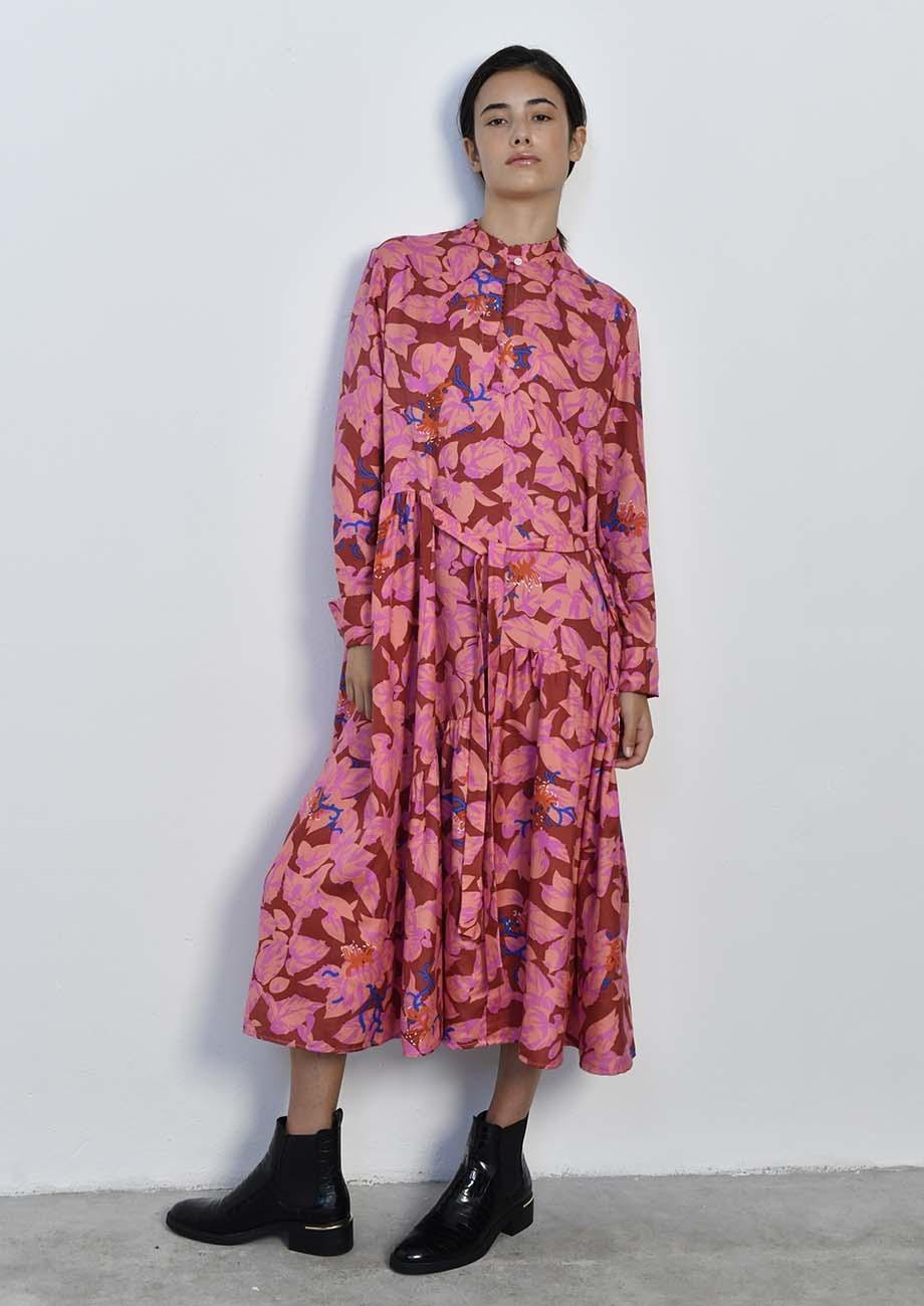 FAVORITE SILK DRESS LONG - ROSES-3