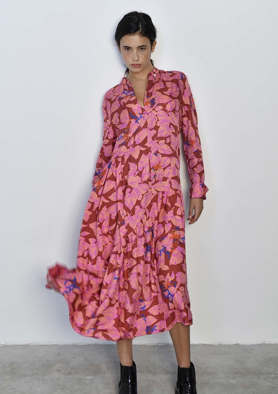 FAVORITE SILK DRESS LONG - ROSES-2