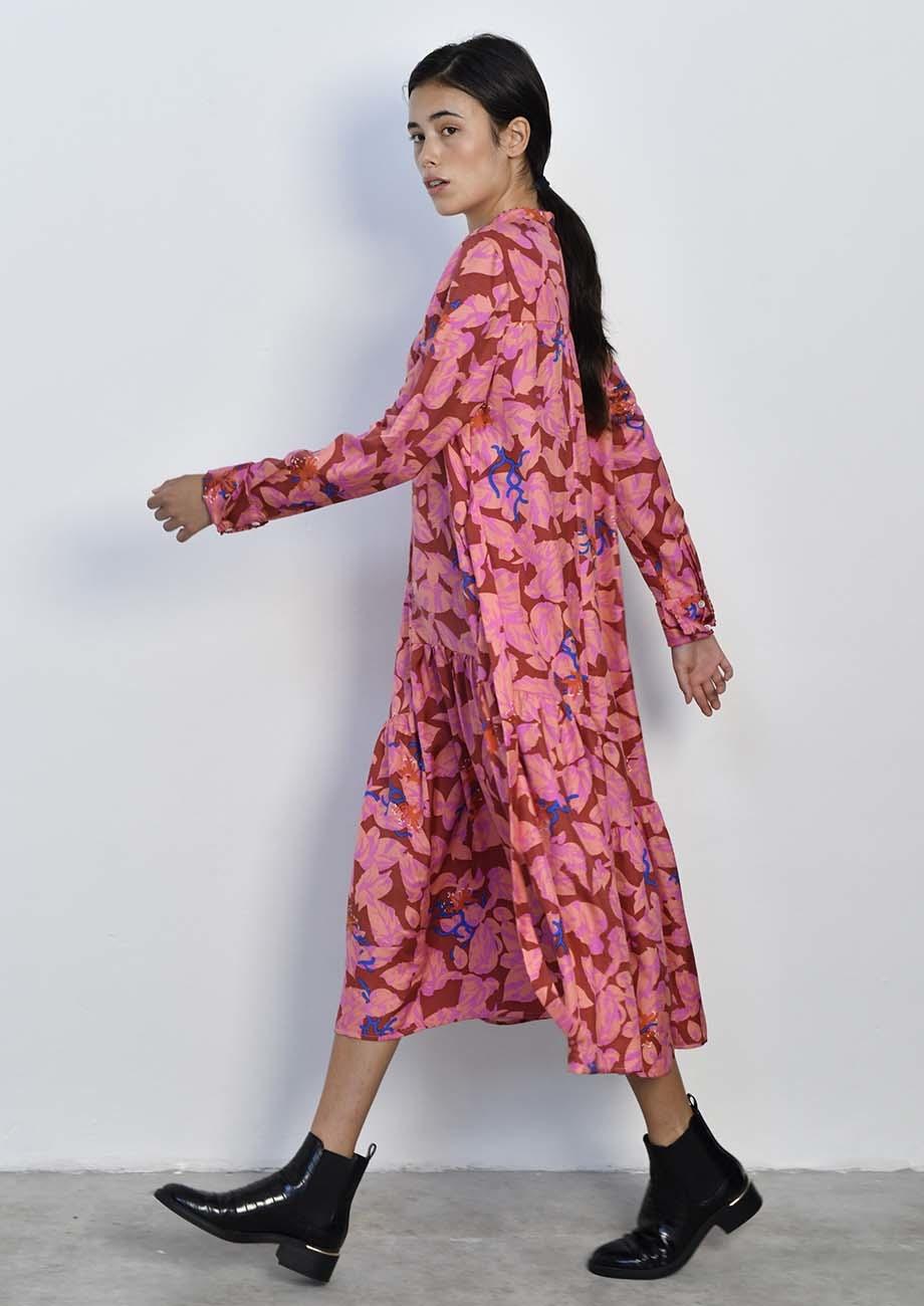 FAVORITE SILK DRESS LONG - ROSES-4