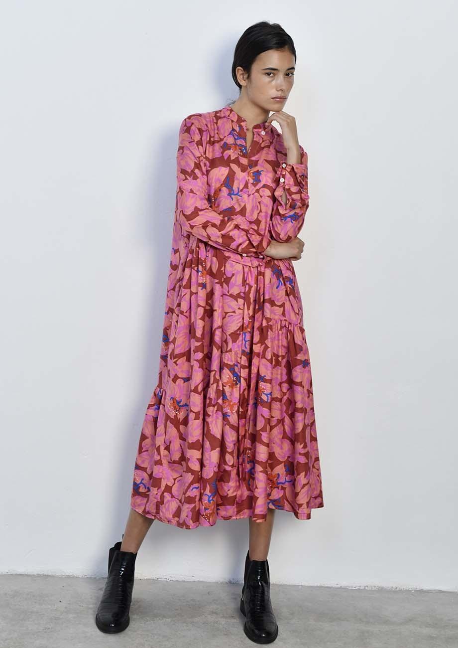 FAVORITE SILK DRESS LONG - ROSES-1
