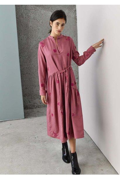 FAVORITE SILK DRESS - EMBROIDERED SMOKE ROSE