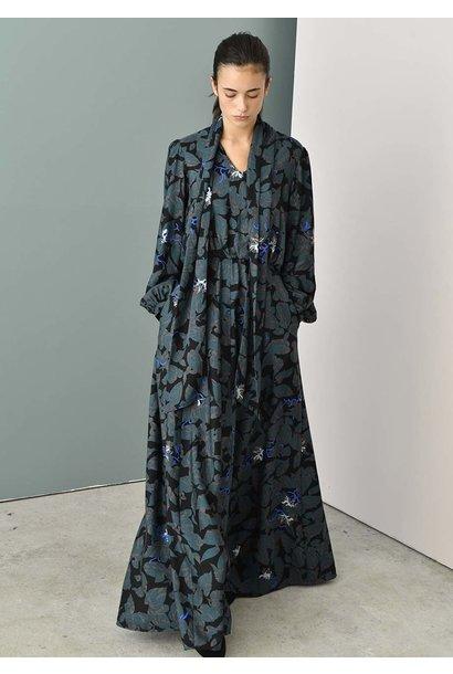 TAILOR SILK DRESS - LEAVES GREEN BLACK