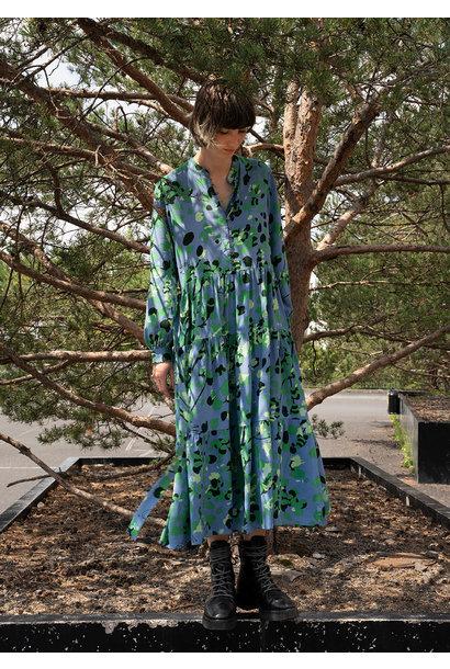 WIDE SILK DRESS - GREEN BLUE