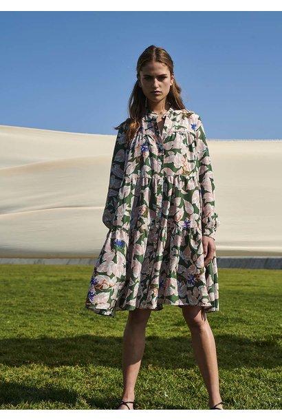 WIDE SILK DRESS SHORT - ROSE OLIVE