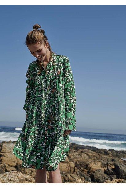 WIDE SILK DRESS SHORT - GREEN OLIVE