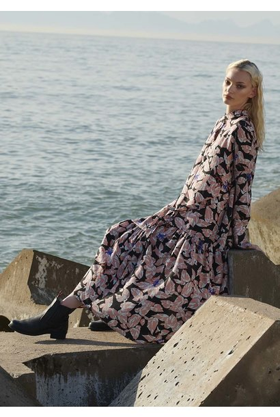 FAVORITE SILK DRESS LONG - ROSE BLACK