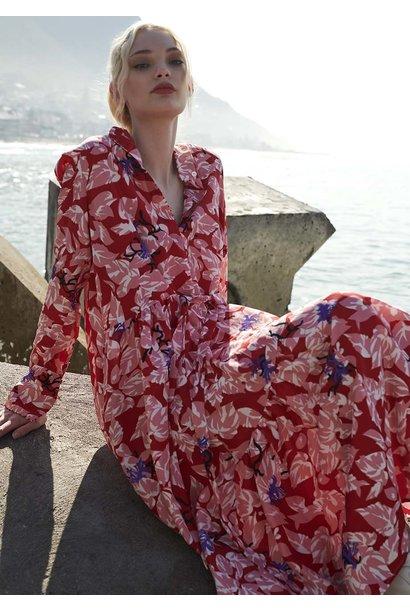 FAVORITE SILK DRESS LONG - RED
