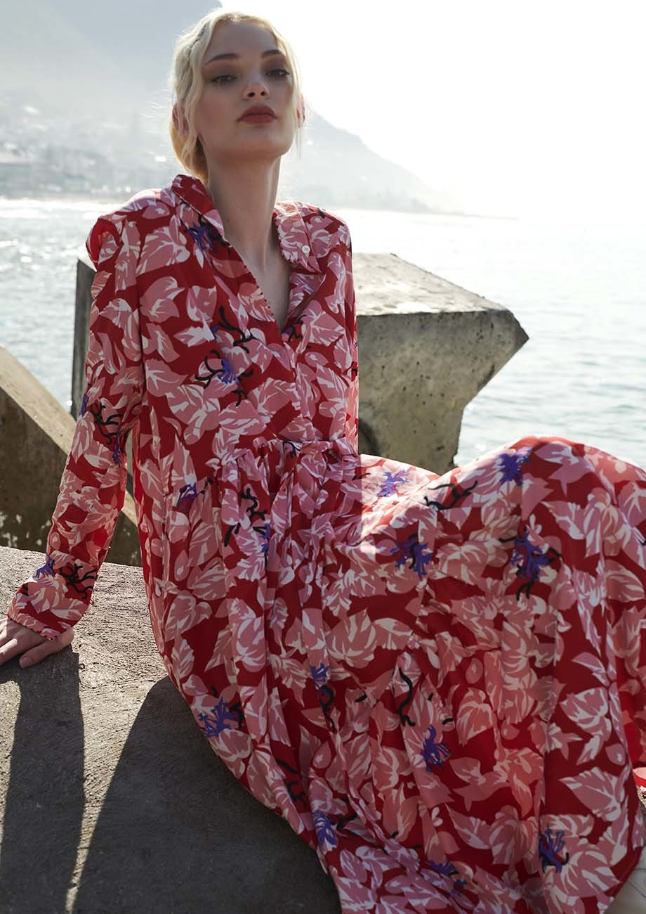 FAVORITE SILK DRESS LONG - RED-1