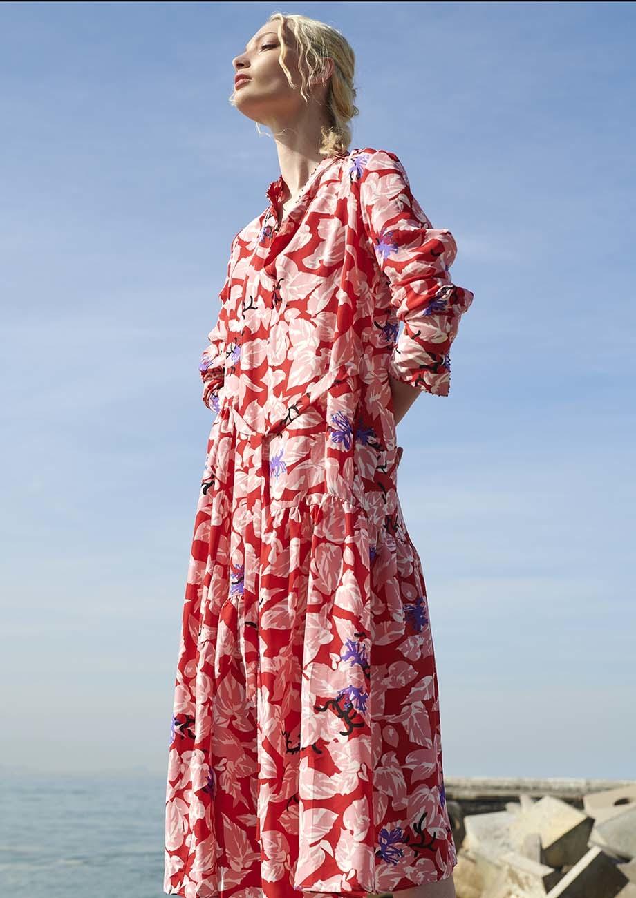 FAVORITE SILK DRESS LONG - RED-3