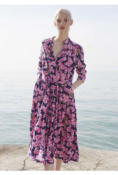 FAVORITE SILK DRESS LONG - LISPSTICK NAVY