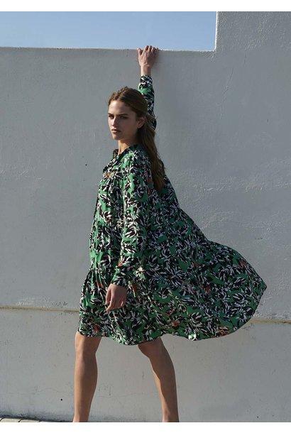 WIDE SILK DRESS SHORT - ZEBRA GREEN