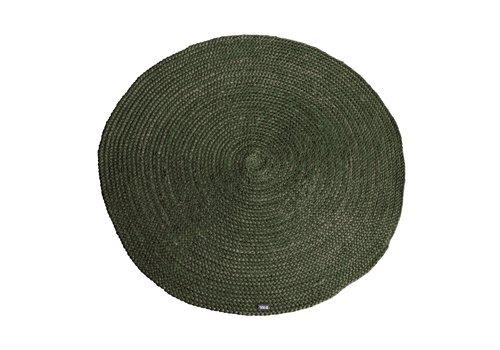 By-Boo Vloerkleed jute groen rond 120cm