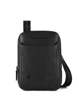 Piquadro Black Square Organized Pocket Crossbody Bag