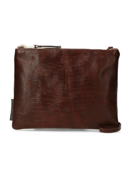 Fred de la Bretoniere crossbody small shiny croco printed leather  brown