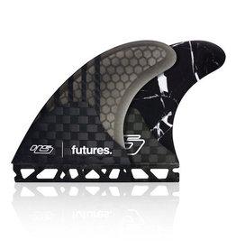 Future Fins Futures - 3Fin HS1 V2 GEN SERIES L,  BLACK MARBLE (80kg+)