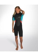 C-Skins C-Skins - 3/2 - Element Womens Flatlock Shorty - UK 6 - Black/Coral/Aqua